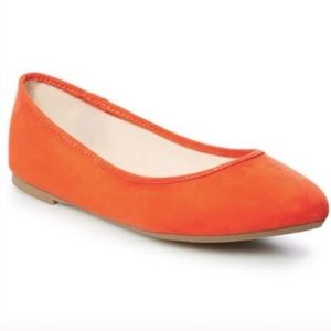 ♡ Orange Almond Toe Flats ♡